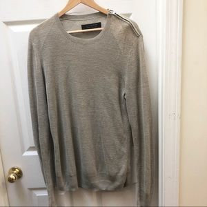 All saints beige zip sweater classic